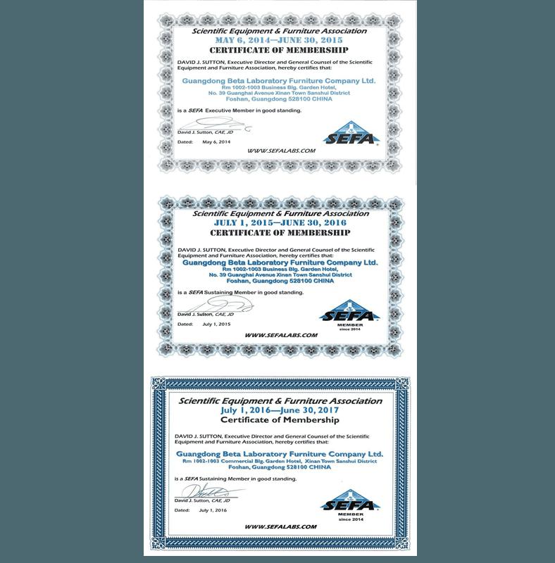 LaboratoryFurnitureSEFACertificate